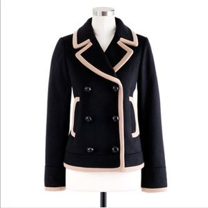 J Crew Black and Tan-tipped Preppy Peacoat Sz 2